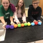 Students with a model of a glucose molecule